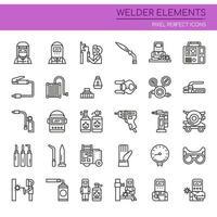 Conjunto de elementos de soldador de linha fina preto e branco