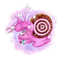 Caracol de olhos múltiplos dos desenhos animados com uma casca de biscoitos, bebendo uma caixa de suco