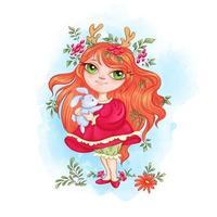 Menina bonito da floresta com chifres de veado detém um pouco de lebre