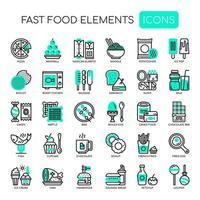 Conjunto de elementos monocromáticos de Fast-Food de linha fina vetor