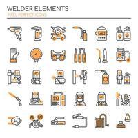 Conjunto de elementos de soldador de linha fina Duotone vetor