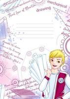 Modelo de caderno ou bloco de notas com jovem estudante vetor