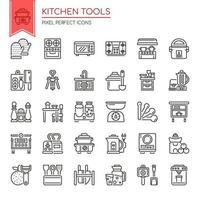 Conjunto de utensílios de cozinha de linha fina preto e branco vetor