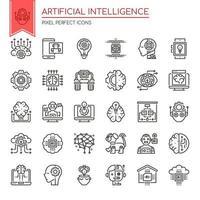 Conjunto de ícones de inteligência artificial de linha fina preto e branco vetor