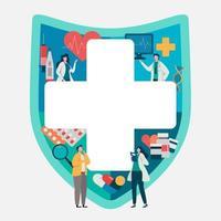 Paciente que consulta com o doutor na frente dos artigos médicos. Aplicação saudável. vetor