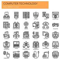Conjunto de ícones de tecnologia de computador de linha fina preto e branco vetor