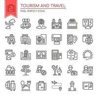 Conjunto de ícones de turismo e viagens de linha fina preto e branco vetor