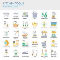 Conjunto de ícones de ferramentas de cozinha de cor lisa vetor