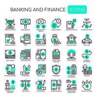 Conjunto de linha fina monocromática bancário e ícones de finanças vetor