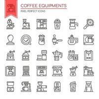 Conjunto de ícones de equipamento de café preto e branco de linha fina vetor