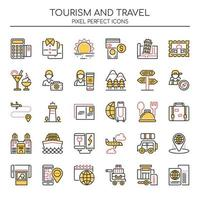Conjunto de ícones de turismo e viagens de linha fina Duotone vetor