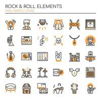 Conjunto de elementos de rock and roll de linha fina Duotone vetor
