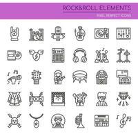 Conjunto de elementos de rock and roll de linha fina preto e branco vetor