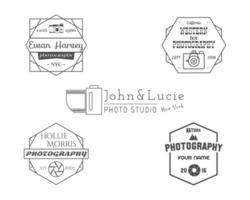 Emblemas de fotografia vintage, etiquetas. Design monocromático com elegantes câmeras antigas e elementos. vetor