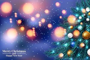 Galhos de árvore de Natal com luzes desfocadas