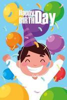 cartão de aniversário com menino comemorando