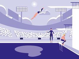 jogadores na piscina para competição de mergulho
