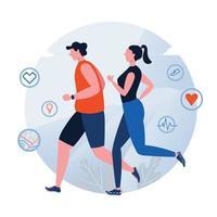 Design de estilo de vida saudável com casal correndo ou correndo vetor