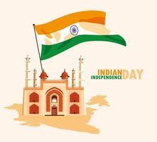 dia da independência indiana com bandeira e amritsar templo dourado vetor