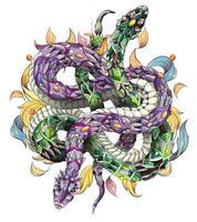Duas cobras estampadas entrelaçadas em fundo floral