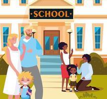 pais adeus crianças no prédio da frente da escola