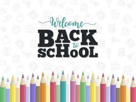 Modelo de cartaz - estilo cursivo de volta às aulas, lápis de cor