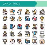 Conjunto de ícones de concentração de linha fina de cor