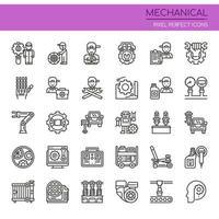 Conjunto de ícones mecânicos de linha fina preto e branco