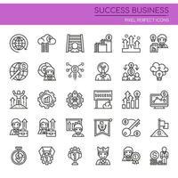 Conjunto de ícones de negócio bem sucedido de linha fina preto e branco vetor