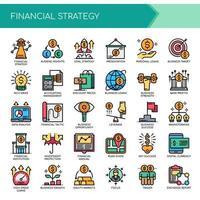 Conjunto de ícones de estratégia financeira de linha fina de cor