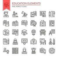 Conjunto de elementos de educação de linha fina preto e branco vetor