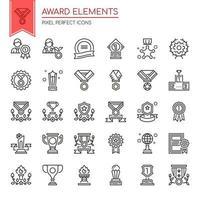 Conjunto de elementos de prêmio de linha fina preto e branco vetor