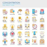 Conjunto de ícones de concentração plana de cores