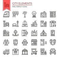 Conjunto de elementos da cidade de linha fina preto e branco vetor