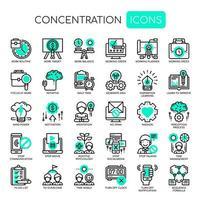 Conjunto de ícones de concentração de linha fina monocromática