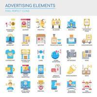 Conjunto de elementos de publicidade de cor lisa