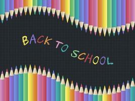 Modelo de cartaz de giz arco-íris de volta à escola, lápis de cor