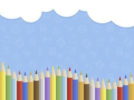 Modelo de cartaz - nuvem de volta à escola, lápis de cor