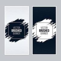 Banners escovados monocromáticos com molduras quadradas vetor