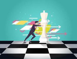 Homem de negócios, movendo a peça de xadrez com setas e formas no fundo