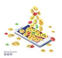 Celular isométrico com emoticons empilhando na tela