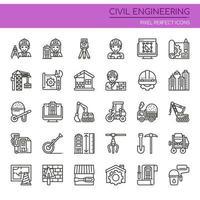 Conjunto de ícones de engenharia civil de linha fina preto e branco vetor