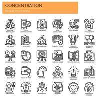 Conjunto de ícones de concentração de linha fina preto e branco