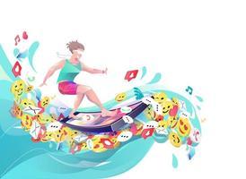 Homem surfando emoticons e ícones usando o telefone