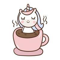 Pequeno pônei na xícara de café vetor