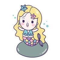 Sereia de estilo kawaii vetor