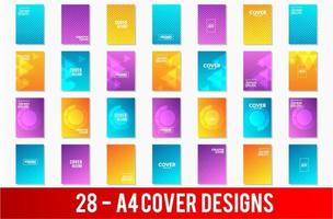Conjunto de modelos de capa A4 com padrões geométricos vetor