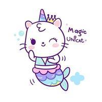 Sereia de gato unicórnio fofo vetor