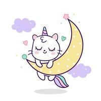 Vetor de unicórnio gato fofo dormindo na lua