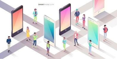 Cidade de smartphone isométrica com pessoas em pé ao redor
